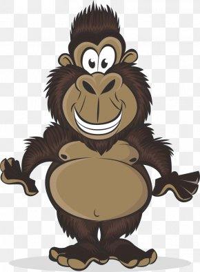 Brown Gorilla - Western Gorilla Ape Child Illustration PNG