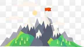 Vector Cartoon Top Red Flag - Mountain Euclidean Vector PNG