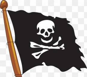 Vector Pirate Flag Painted - Piracy Jolly Roger PNG