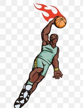 Basketball Player Dunk - Basketball Sport Slam Dunk Illustration PNG