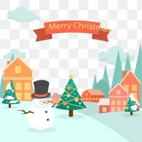 Christmas Snow Town - Christmas Tree Clip Art PNG