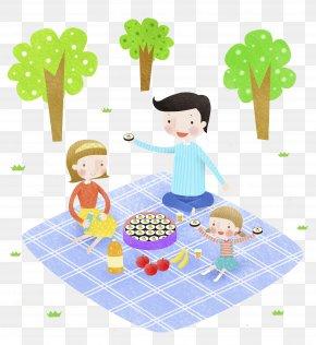 Picnic Family - Picnic Food Cartoon Illustration PNG