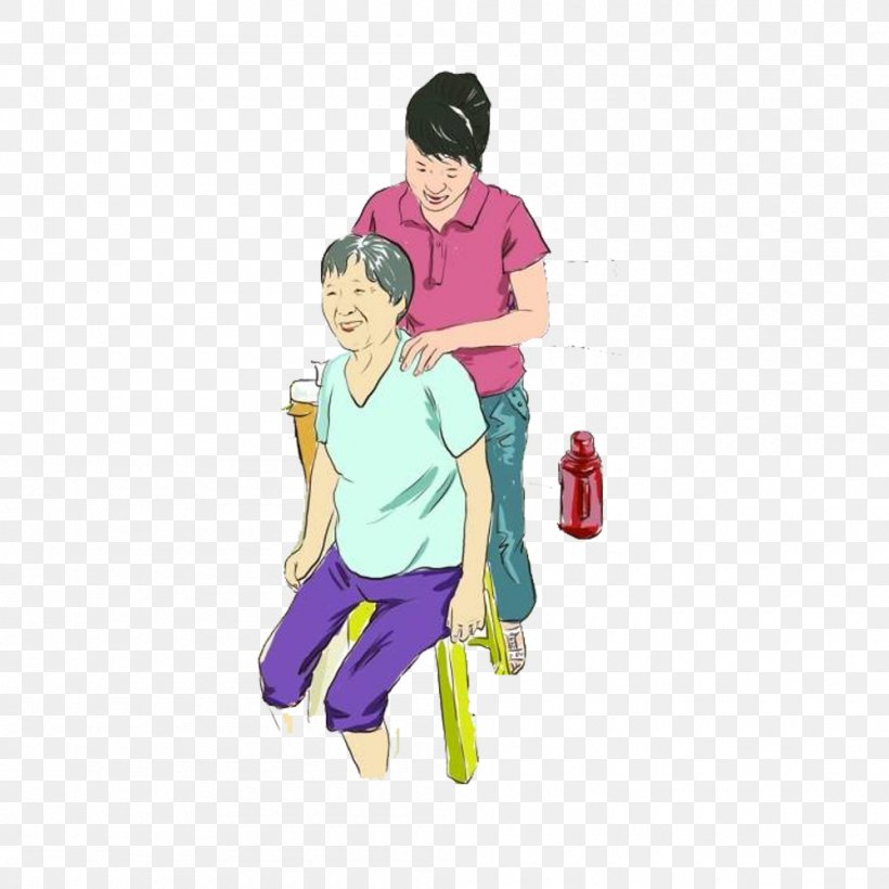 Parent Filial Piety Cartoon Illustration, PNG, 1000x1000px, Watercolor, Cartoon, Flower, Frame, Heart Download Free