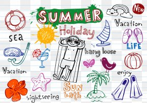 Hand-painted Summer Element Vector Material Downloaded, - Summer Element Drawing Euclidean Vector PNG