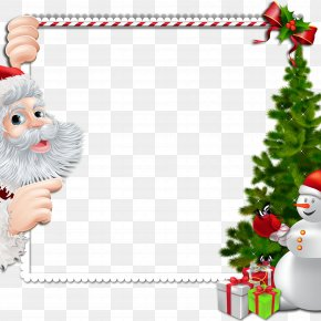 Christmas Border - Christmas Santa Claus Picture Frame Clip Art PNG
