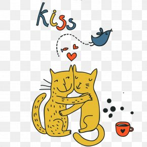 Two Lovers Cats Valentine's Day Illustration - Cats Illustration PNG