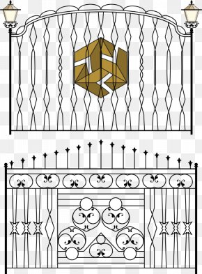 Vector Black And White Walled Iron - Fence Gate Wrought Iron Iron Railing PNG