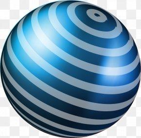 Hand Painted Blue Circle Ball - Ball Illustration PNG