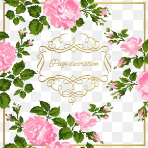 Pink Flowers - Calligraphy Ornament Clip Art PNG