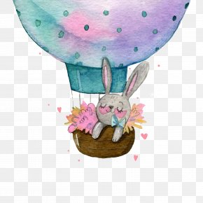 Vector Hot Air Balloon - Easter Bunny Wedding Invitation Baby Shower Greeting Card PNG