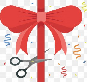 Red Bow - Red Euclidean Vector Ribbon Clip Art PNG
