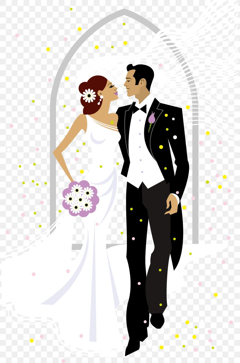 Sweet Bride And Groom Wedding Vector Illustration, PNG, 809x1239px, Watercolor, Cartoon, Flower, Frame, Heart Download Free