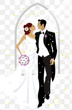 Sweet Bride And Groom Wedding Vector Illustration PNG