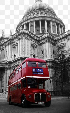London Red Bus And European Architecture Steeple - St Pauls Cathedral Millennium Bridge, London Double-decker Bus AEC Routemaster PNG