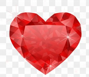 Large Transparent Diamond Red Heart Clipart - Heart Diamond Red Clip Art PNG