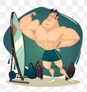 Muscular Workout Dumbbell - Muscle Cartoon Physical Fitness PNG