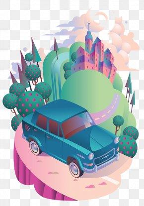 Creative Hand-painted City Car - Adobe Illustrator Illustration PNG
