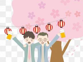Spring Illustration - Hanami Paper Lantern Clip Art PNG