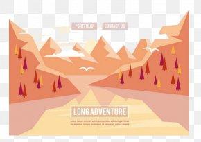 Red Volcano - Euclidean Vector Landscape Illustration PNG