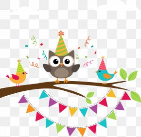 Hand-painted Cartoon Owl Colored Bird On Branch - Owl Birthday Greeting Card Clip Art PNG