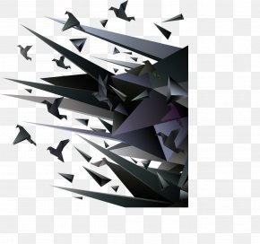 Dimensional Decorative Black Angular Plane - Plane Computer Graphics PNG