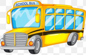 Hand Drawn Cartoon School Bus - School Bus Illustration PNG