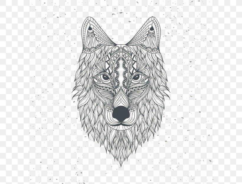 Gray Wolf Coloring Book Drawing Mandala Euclidean Vector ...