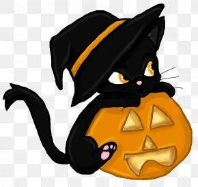 Witch Cat - Black Cat Kitten Halloween Clip Art PNG