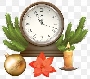 Christmas Clock With Decorations Clip Art Image - Public Holiday Christmas Clock Clip Art PNG