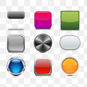 Vector Metal Button - Metal Push-button Icon PNG