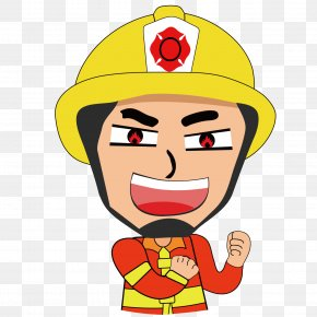 Confident Firefighter - Firefighter Firefighting Cartoon PNG