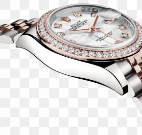 Rolex Watch Watches Silver Diamond Female Form - Rolex Datejust Watch Clock Jewellery PNG