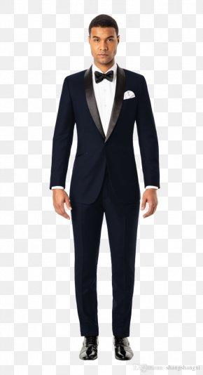 Groom Suit - Tuxedo Lapel Suit Jacket Blue PNG