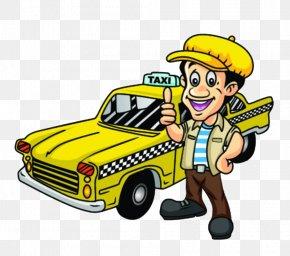 Cartoon Yellow Taxi - Taxi Driver Driving Clip Art PNG