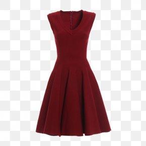 V-neck Sleeveless Dress - Shoulder Velvet Sleeve Dress Maroon PNG