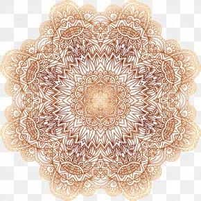 Golden Flowers - Circle Line Euclidean Vector PNG