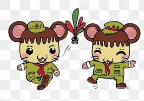 Little Mouse With Red Scarf - Red Scarf Necktie PNG