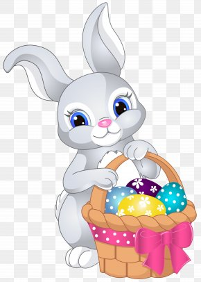 Easter Bunny With Egg Basket Clip Art Image - Easter Bunny Clip Art PNG