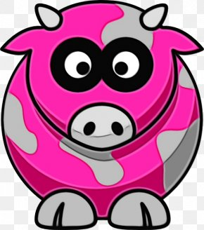 Smile Bovine - Cartoon Pink Clip Art Snout Suidae PNG
