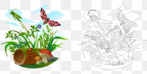 Cartoon Grasshopper Flowers And Butterflies Mushroom Wood - Ant Royalty-free Illustration PNG