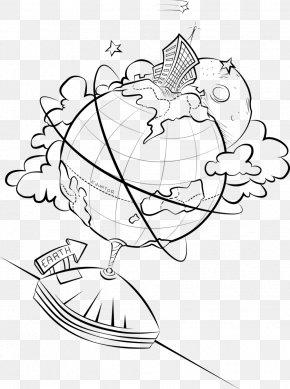 Creative Cartoon - Line Art Earth Drawing Cartoon PNG