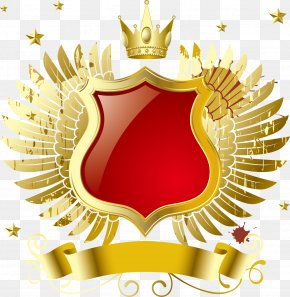 Vector Golden Wings Crown Badge - Download MP3 Computer File PNG