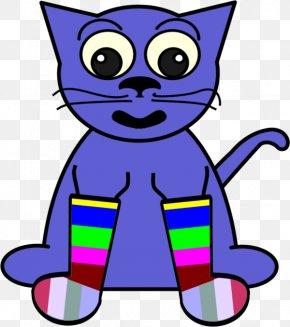 Purple Cartoon Cat - Sock Free Content Clip Art PNG