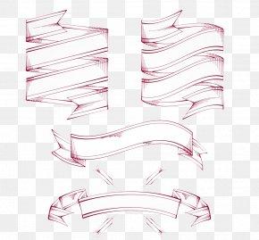 Pink Ribbon Retro Style - Pink Ribbon Drawing PNG