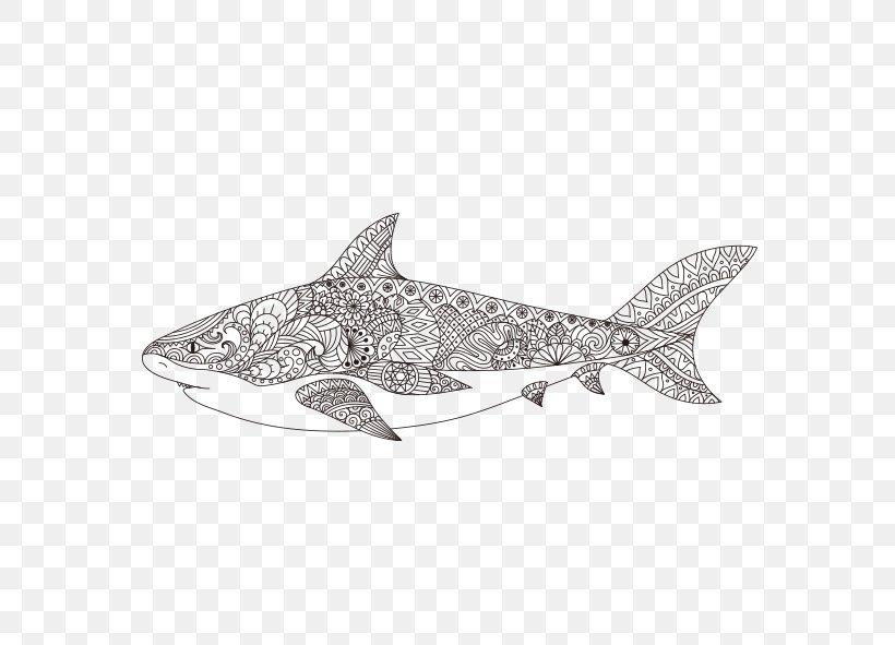 Shark Coloring Book Mandala Illustration, PNG, 591x591px ...