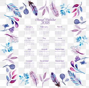 Watercolor Hand Painted Feather Flower Calendar - Graphic Design Feather Purple Pattern PNG