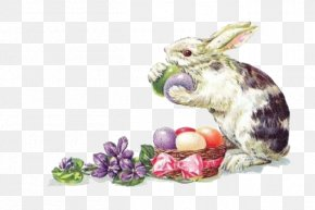 Hand-painted Rabbit - Easter Bunny Easter Postcard Rabbit Greeting Card PNG