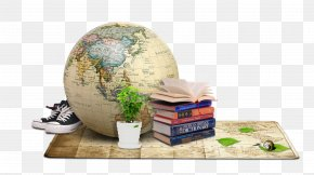 Retro Map Globe Book Material - Student School Textbook Learning PNG