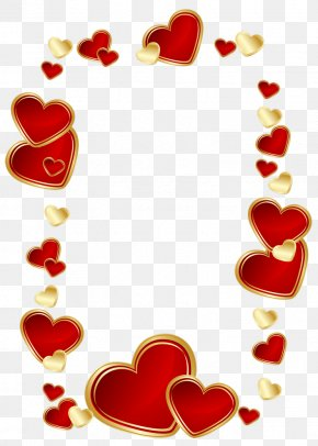 Gold And Red Hearts Decoration Clipart Picture - Love Heart Clip Art PNG
