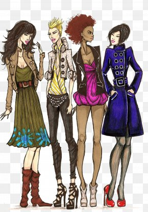 Hand-painted Women's Fashion Illustration Series - Fashion Drawing Illustration PNG